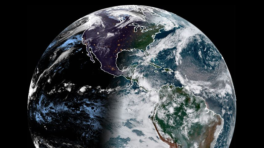 A photo of the Earth taken by the NOAA GOES-16 Satellite
