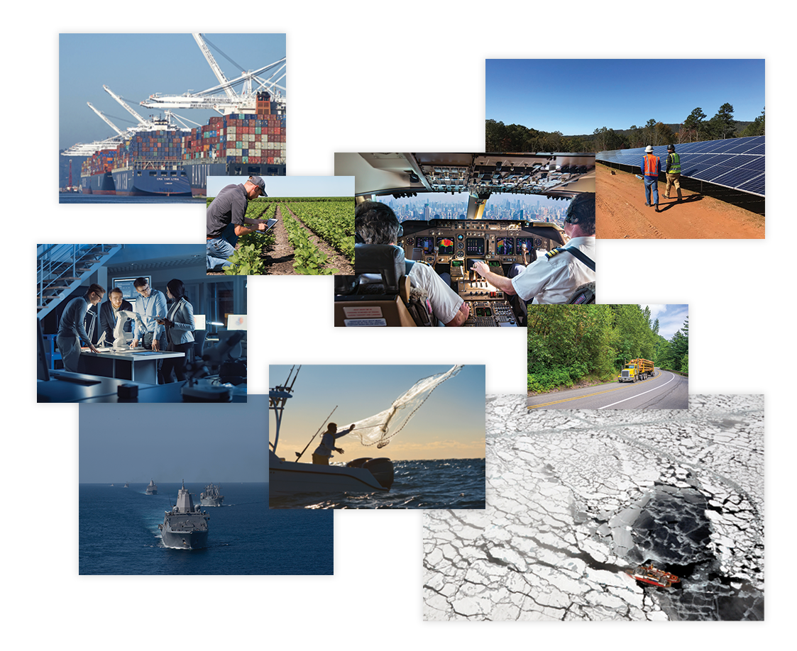 Tiled images: vessels at port, a farmer viewing data on his ipad in his field, a team discussing a product in their office space, a fisherman casting a net, military vessels out to sea, Coast Guard ships traveling through ice covered waters, a logging truck driving on a highway, two pilots in a cockpit during a flight, and two people walking beside a row of solar panels.