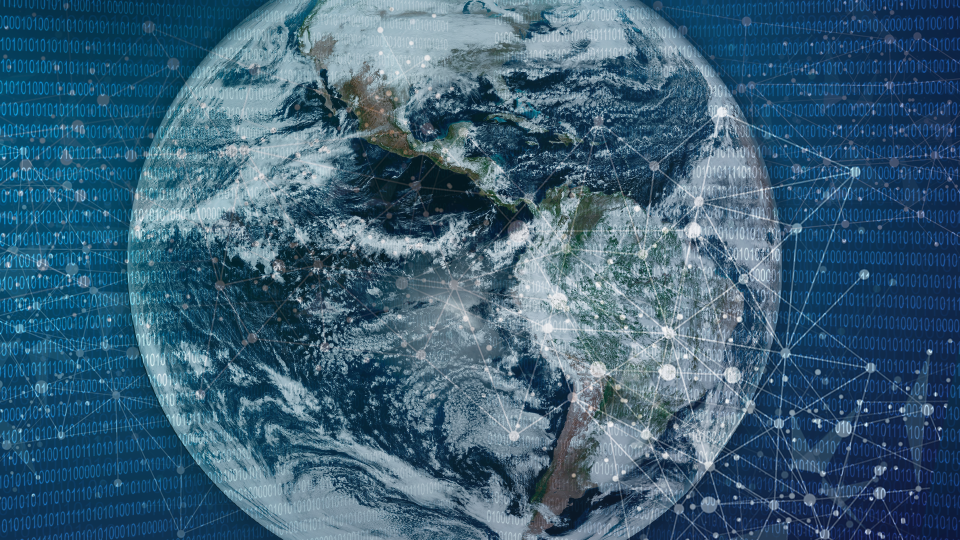 Abstract data waves surrounding Earth