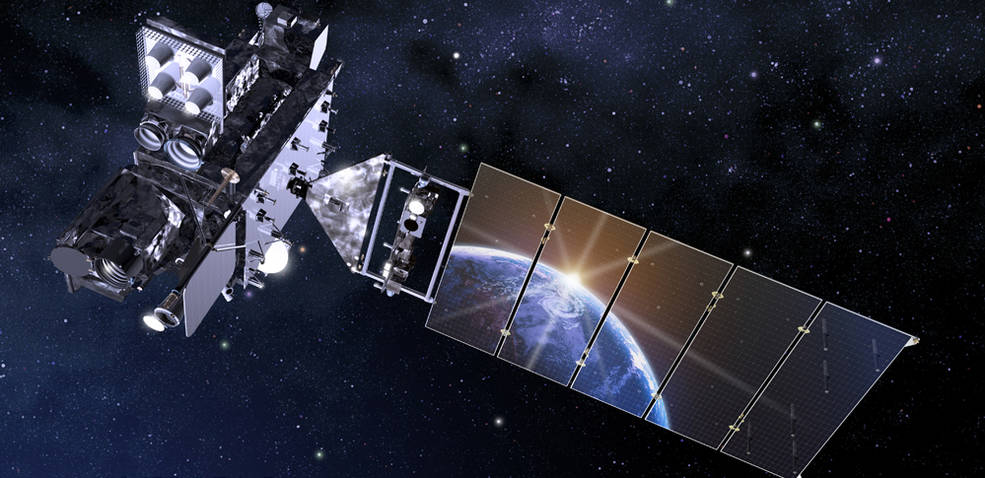 Artist rendering of the GOES-R spacecraft with Earth reflecting in solar panel