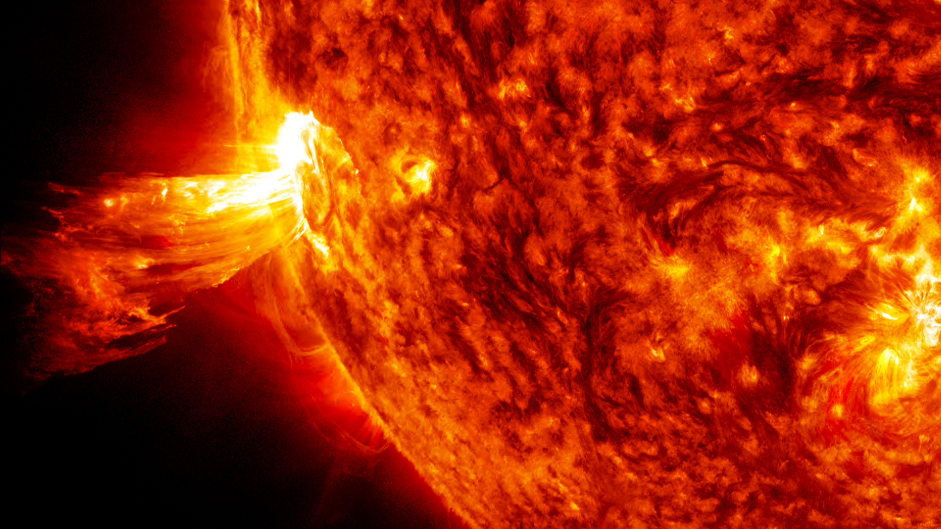 On June 20, 2013, NASA's Solar Dynamics Observatory spacecraft captured this coronal mass ejection (CME). A solar phenomenon that can send billions of tons of particles into space that can reach Earth one to three days later. Credit NASA.