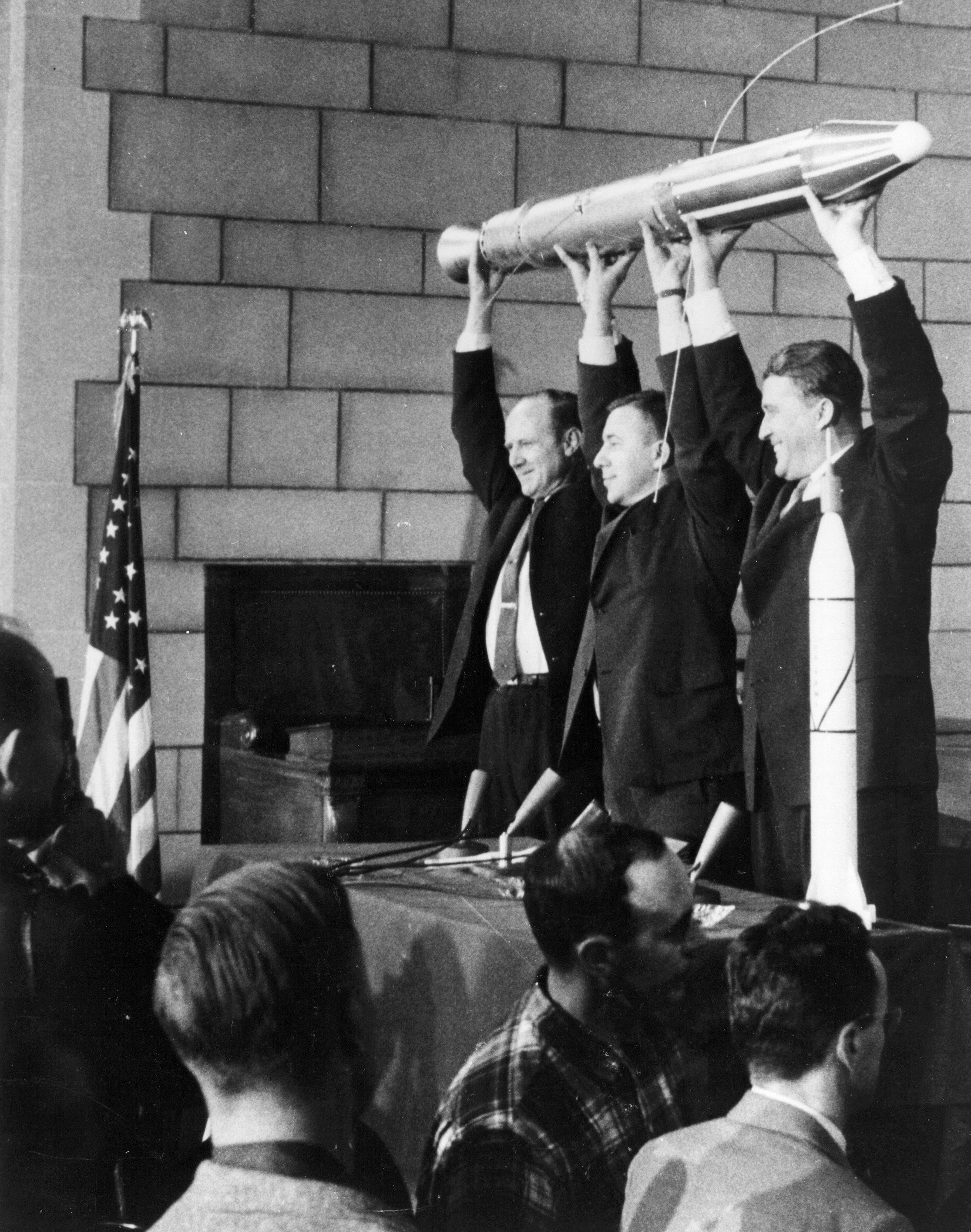 The three men behind the successful launch of Explorer 1 on January 31, 1958:  Dr. William H. Pickering (left), Dr. James A. van Allen (center) and Dr. Wernher von Braun (right). (Credit: NASA)