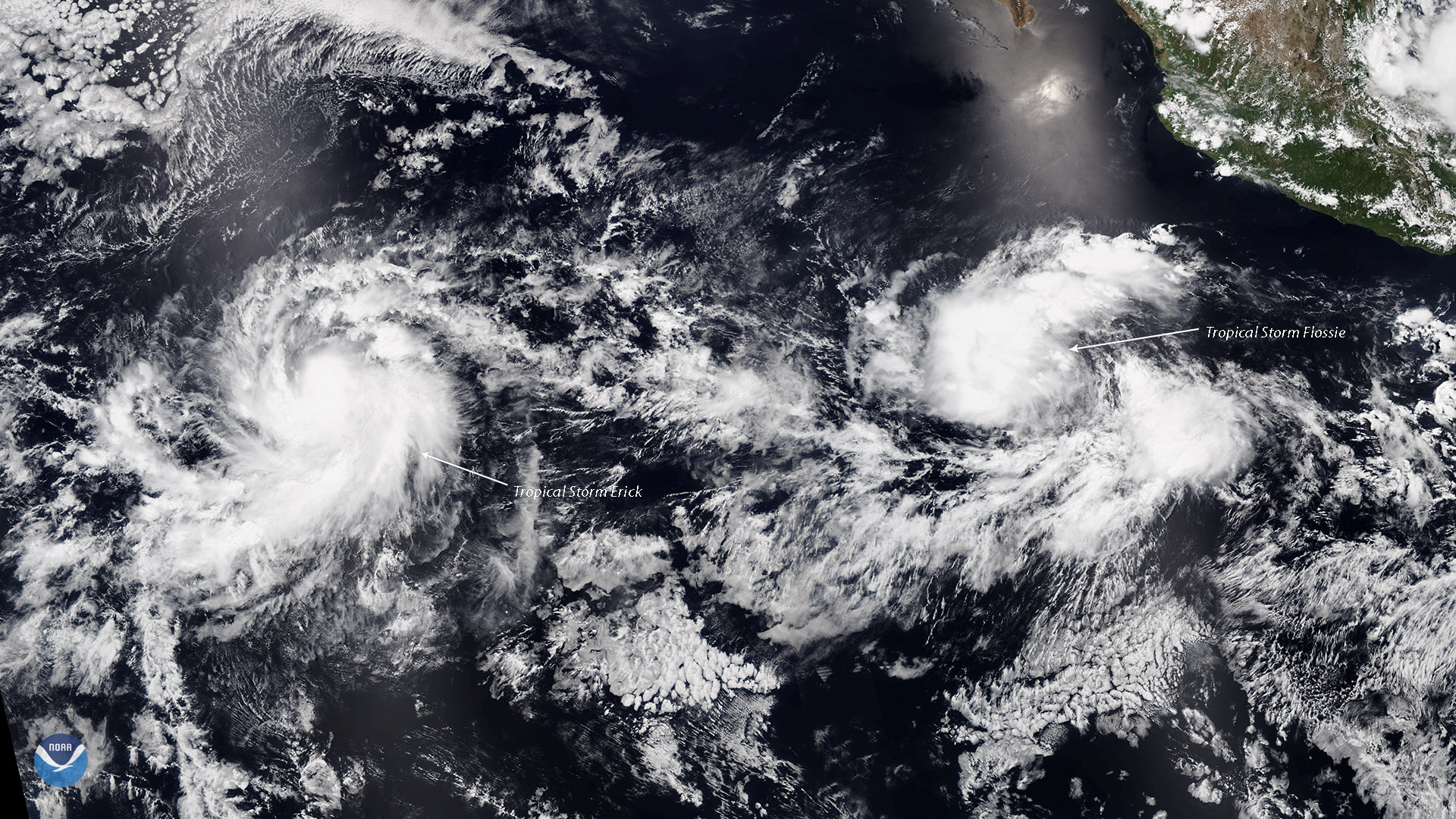 NOAA-20 Watches Two Tropical Storms Strengthening in the Eastern Pacific
