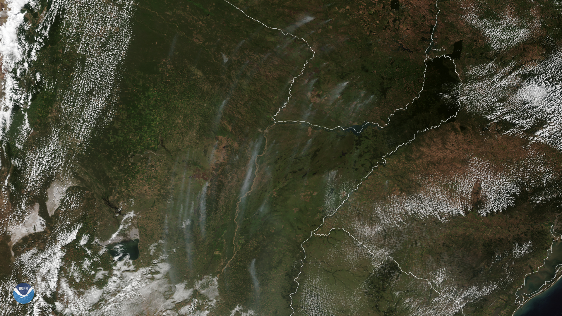 GOES-East Sees Smoke Plumes from Fires in Argentina and Paraguay