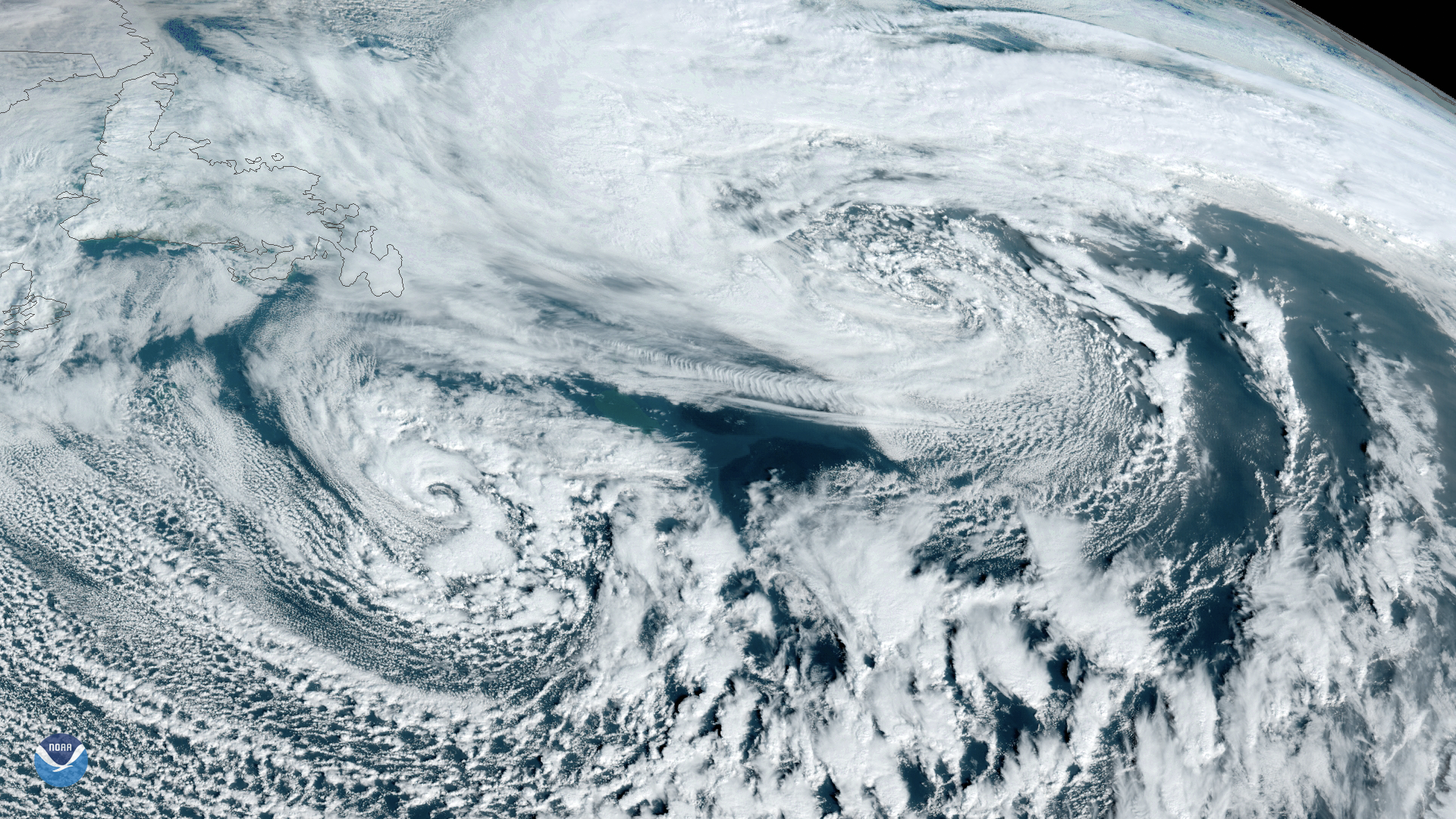 Double storm system over the Atlantic