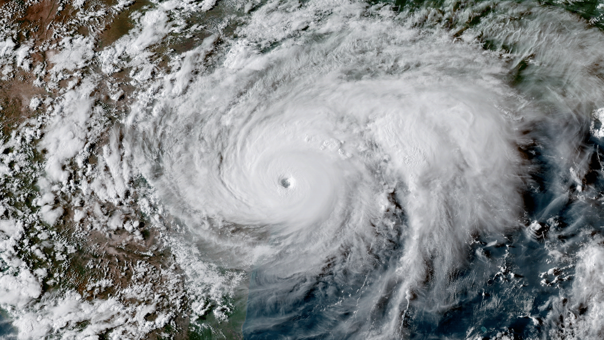 GOES-16 imagery of Hurricane Harvey making landfall in Texas on  August 25, 2017. (NOAA)