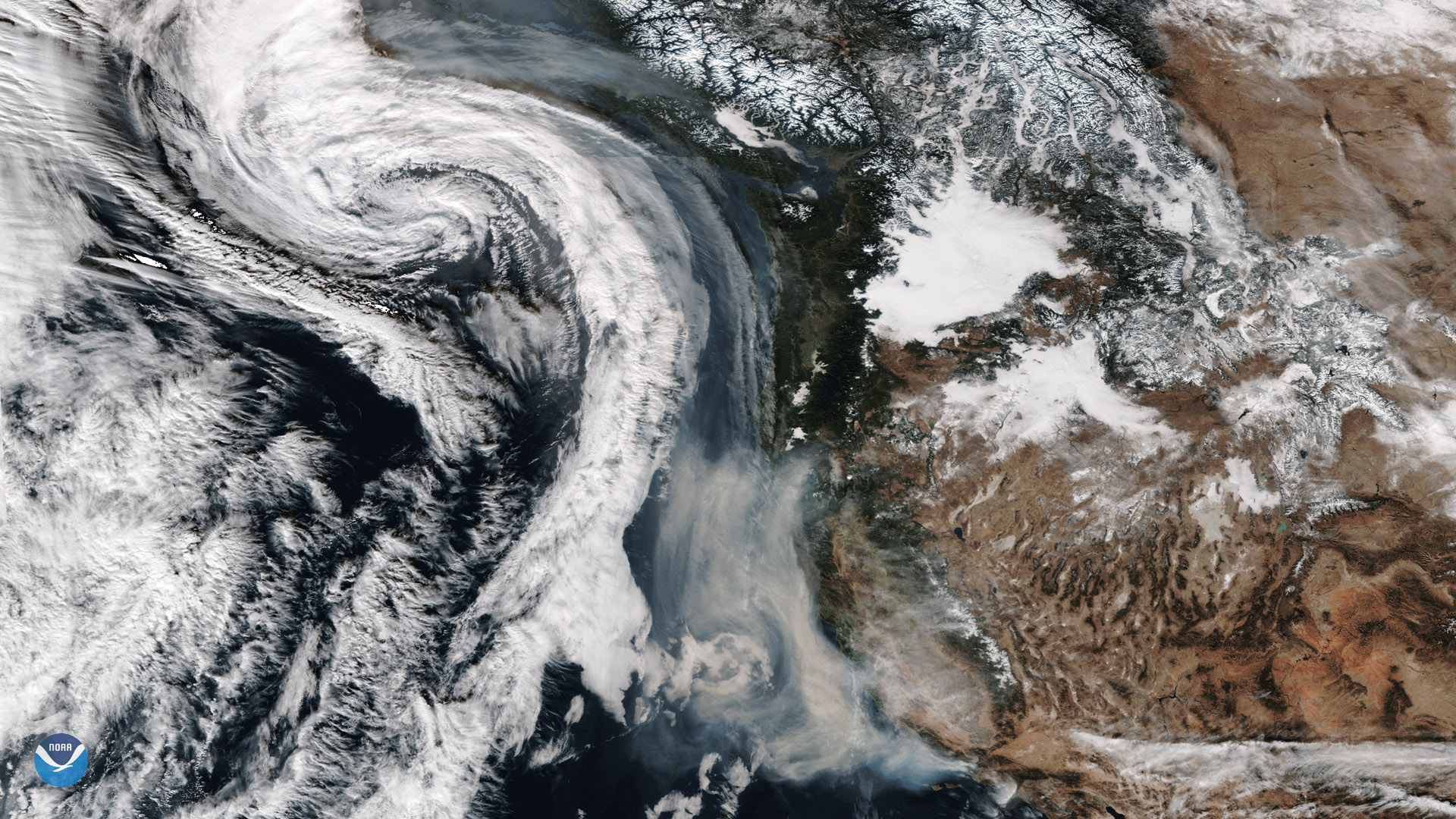 California Wildfire Smoke Wrapped Up Into an Approaching Storm