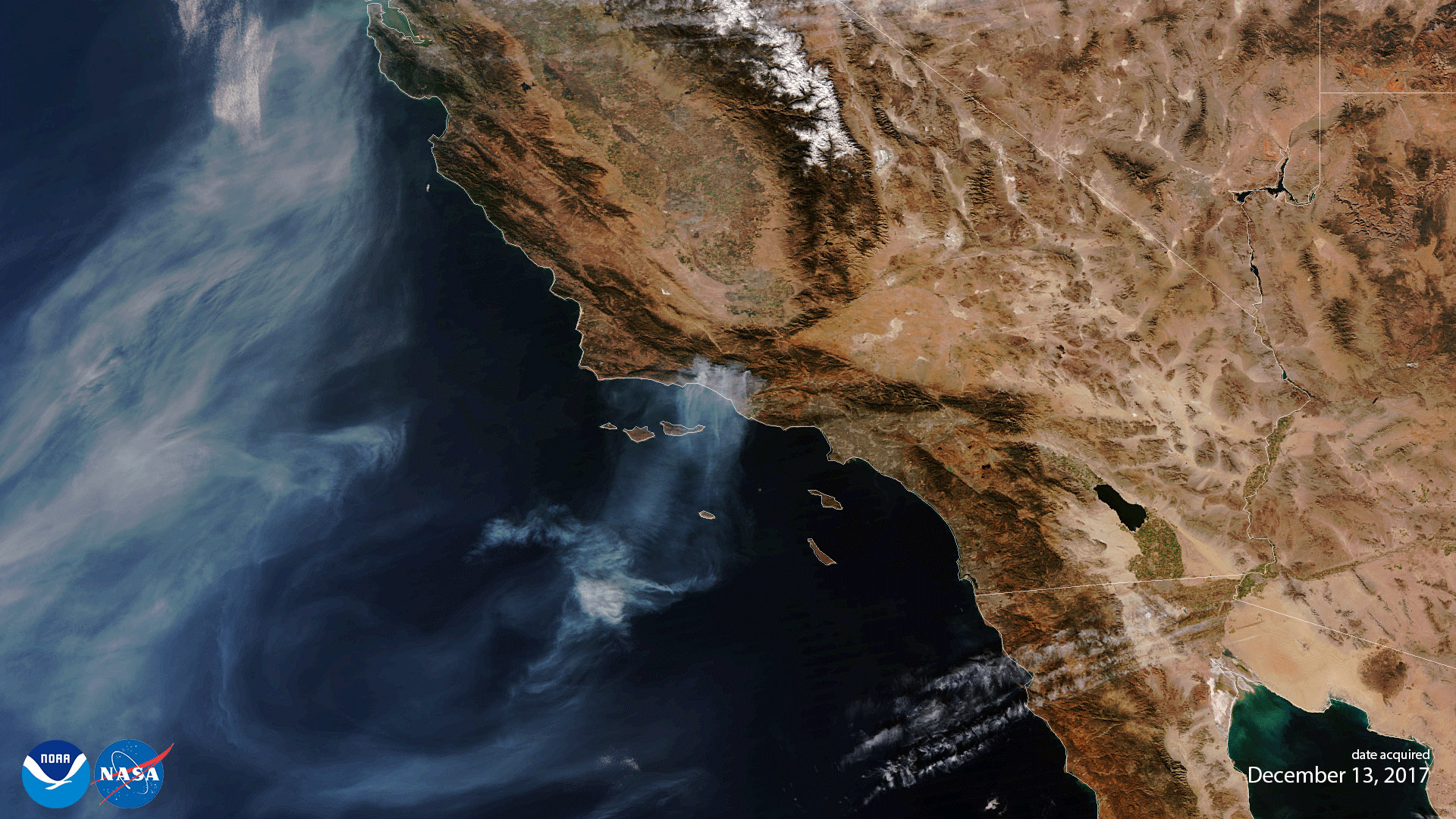 First Light Image from NOAA-20 VIIRS Captures Thomas Fire