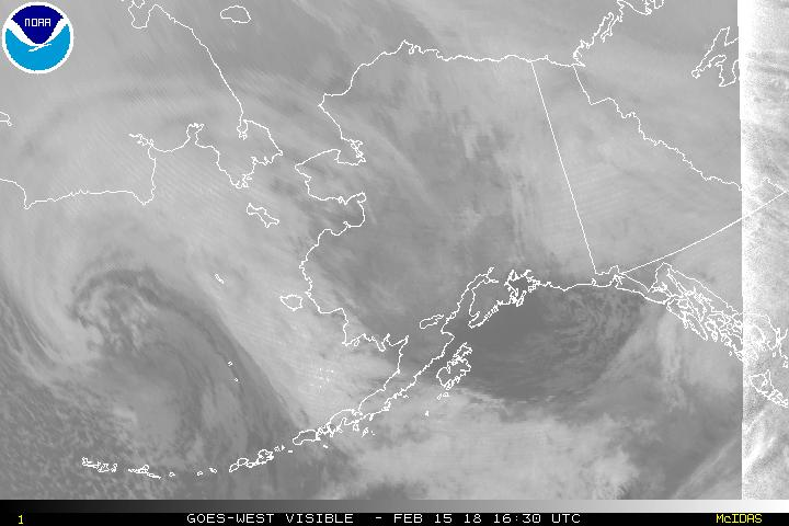Current geostationary satellite coverage of Alaska, such as this recent GOES-15 visible imagery, will be replaced by high-resolution imagery in 16 different channels. (NOAA)