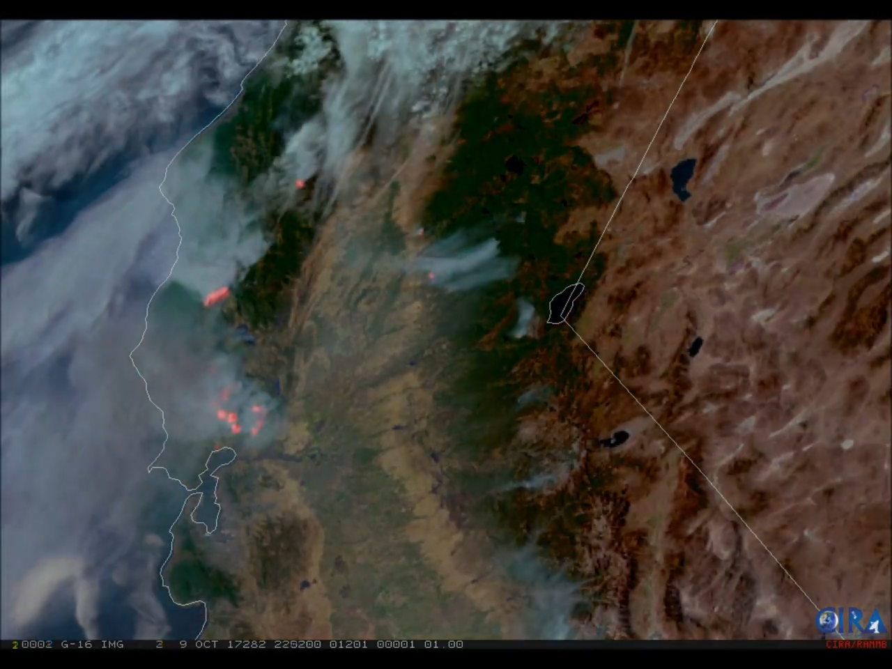 GOES-16 GeoColor and fire temperature RGB (red-green-blue) imagery of the wildfires raging in California on October 9, 2017. (Credit: CIRA)