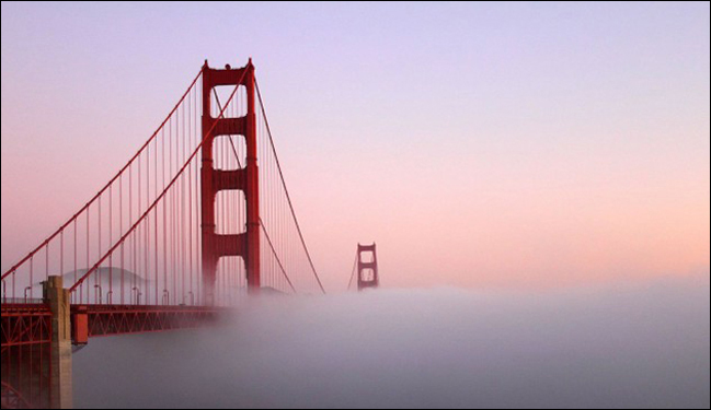 An image of the San Francisco, California Golden Gate Bridge Covered in Fog