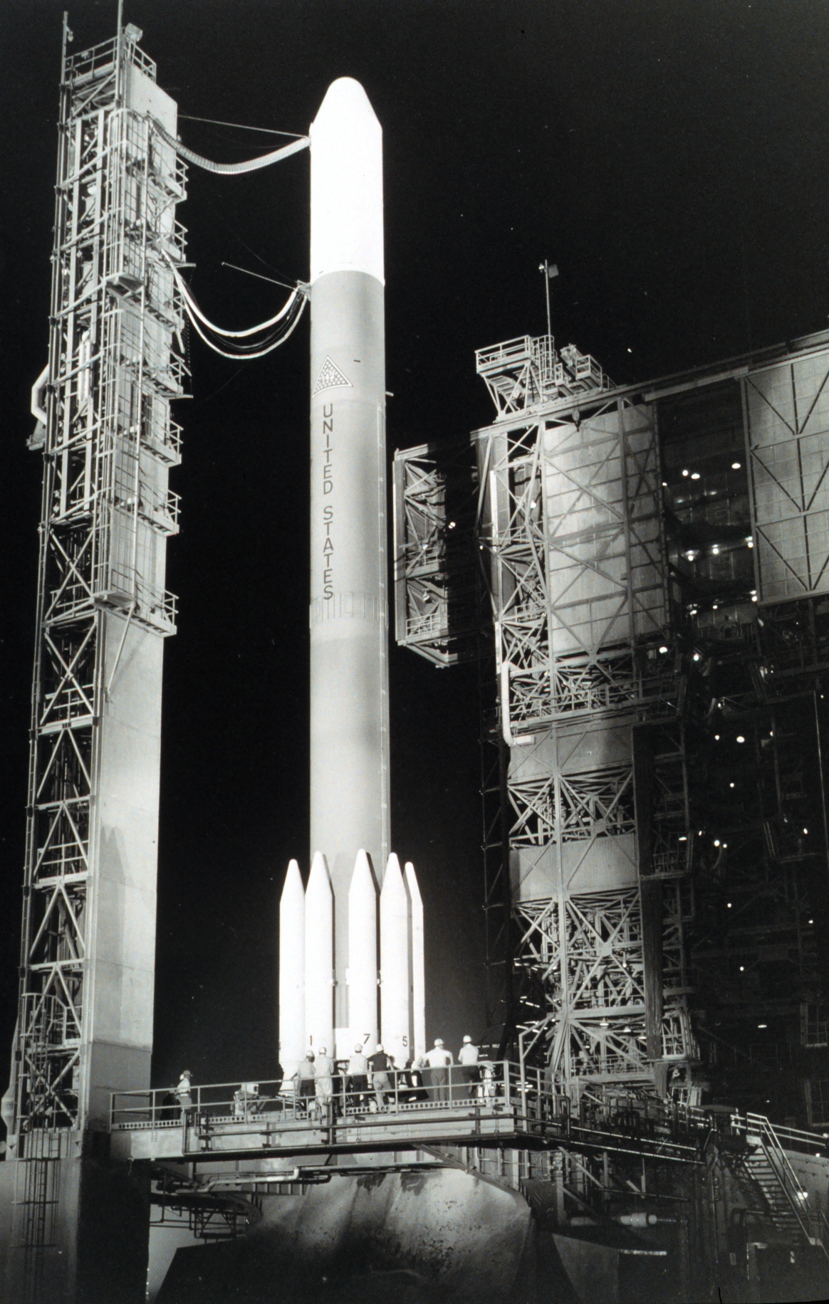 GOES-C (known as GOES-3 once operational) awaits launch aboard Delta Launch Vehicle 142. It was placed in geostationary orbit at 135 degrees west longitude. Credit: NASA