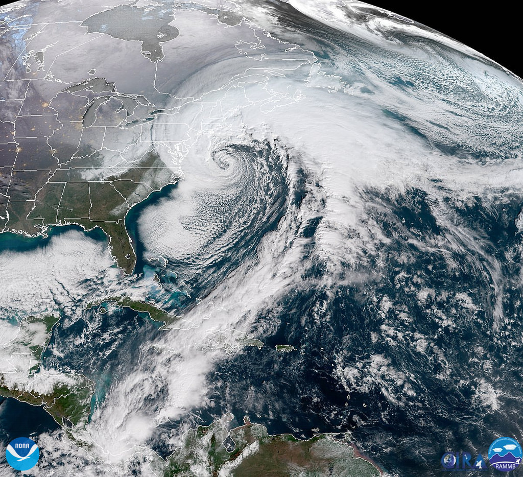 GOES East captures the powerful 'bomb cyclone' moving up the U.S. East Coast on January 4, 2018.