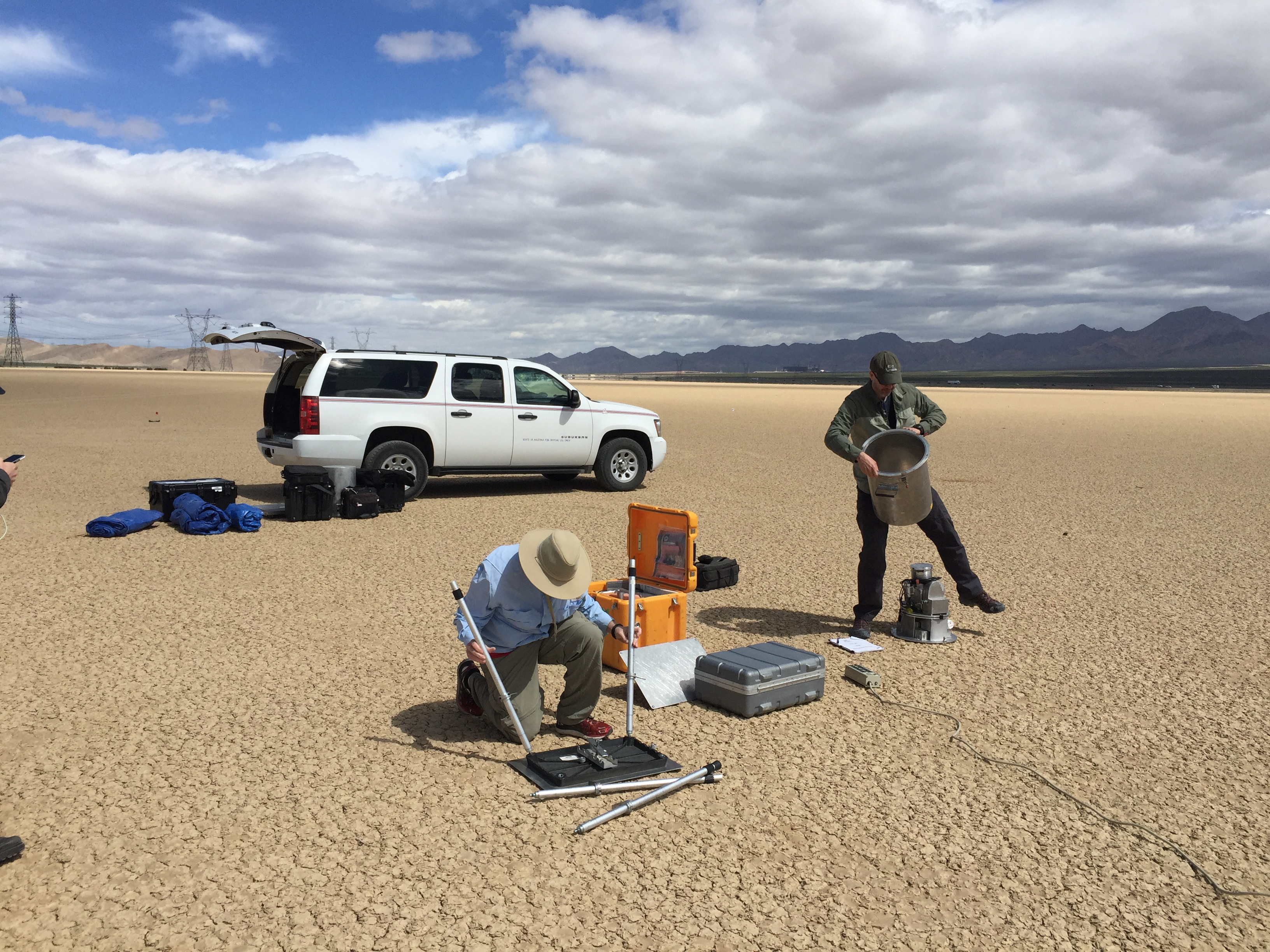 Ground validation support in Ivanpah, California. Credit: NASA JPL