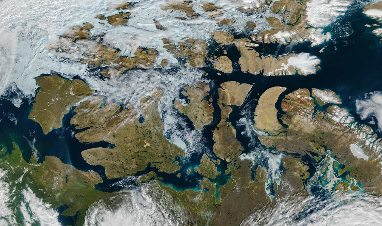 Satellite image of the Arctic showing the Northwest Passage