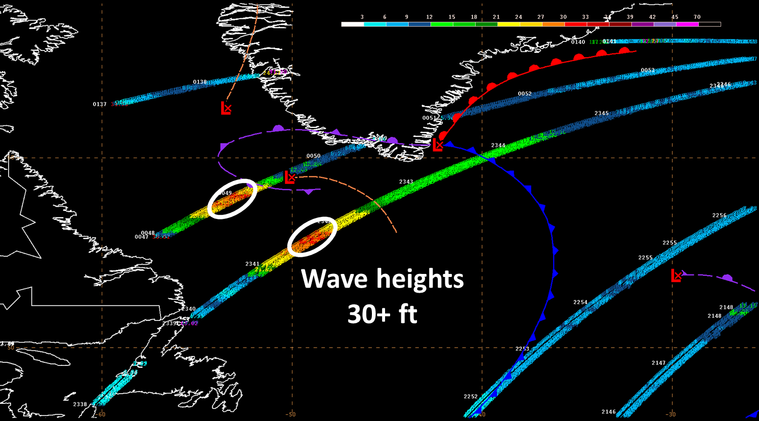 Wave heights measured by the Jason-2 and Jason-3 satellites