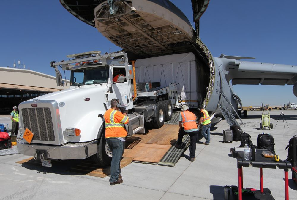 GOES-16 gets loaded on to a C-5 cargo plane