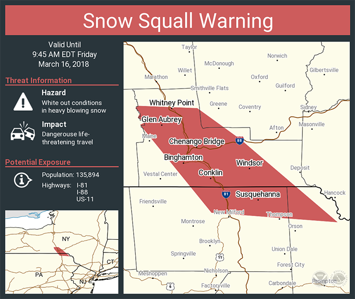This is an example of a social media graphic the National Weather Service would share when a snow squall warning is issued.