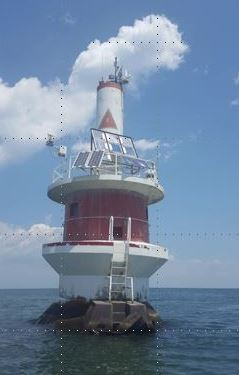 SeaPrism instrument package mounted on top of the US Coast Guard Light #2 Tower.