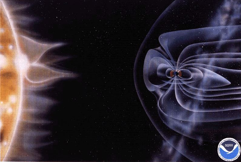 artist's rendition of space weather