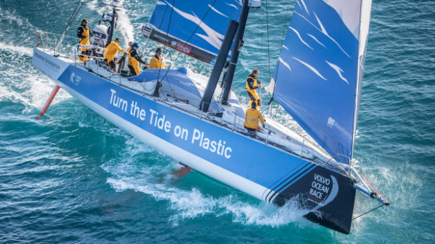 "The ""Turn The Tide on Plastic"" race boat"
