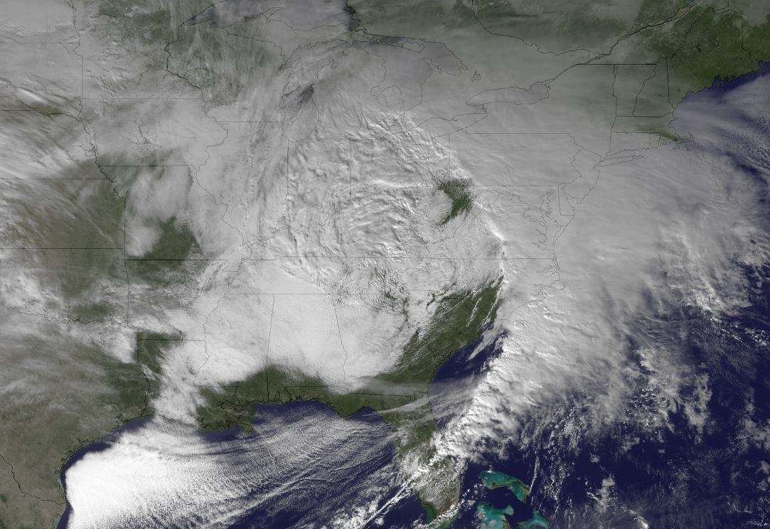 GOES image of hazardous weather over southern US in winter of 2012