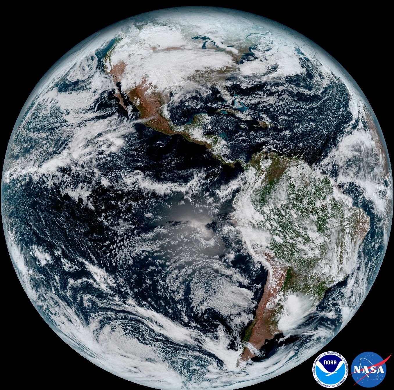 This composite color full-disk visible image was captured at 1:07pm EST on January 15, 2017 and created using several of the 16 spectral channels available on the ABI.