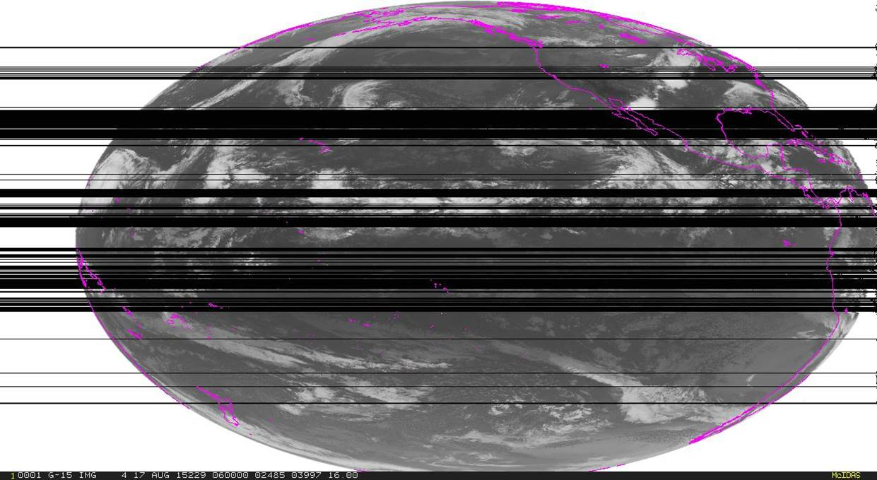 This image was taken on August 17, 2015. The black areas in the image are areas in which weather observations have been lost due to spectrum interference during the testing of the 1675 to 1680 MHz. Credit: NOAA