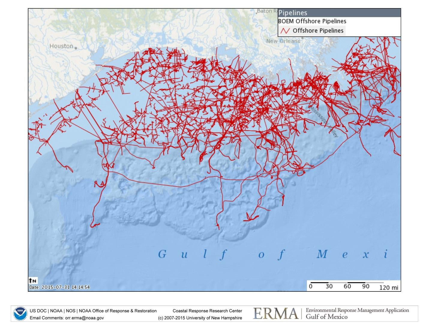 Map of oil pipelines in the Gulf of Mexico taken from NOAA's ERMA application, which is used to help plan for, and respond to, marine environmental disasters.