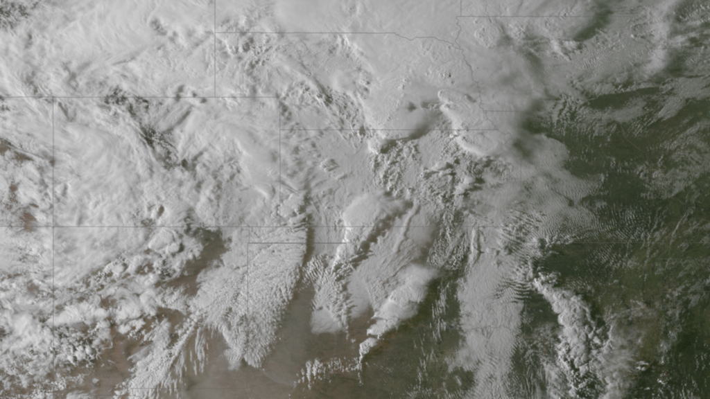 NOAA GOES-13 Captures Large Areas of Freezing Rain over the Central Plains, April 9, 2013.
