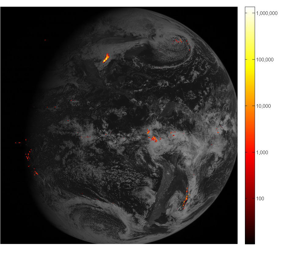 GOES-16 full disk image showing lightning flashes
