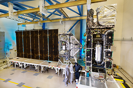 GOES-R satellite in clean room at Lockheed Martin facility in Colorado