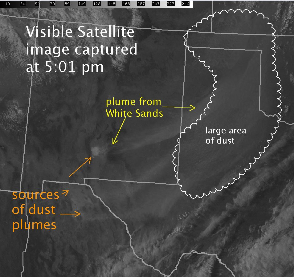 In visible satellite imagery such as this image from GOES-East, it can be hard to distinguish dust clouds from the background.