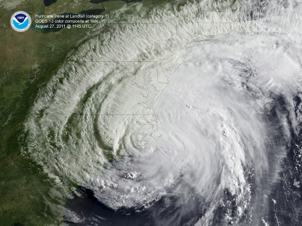 GOES-13 image of Hurricane Irene