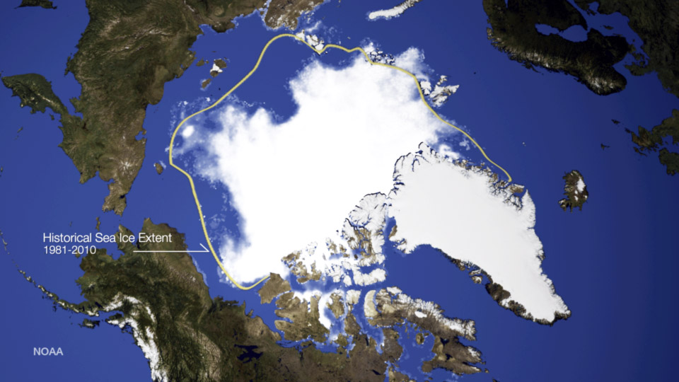 This image shows the sea ice concentration on September 17, 2014, along with a yellow line indicating the median sea ice extent for 1981-2010. Credit: NOAA