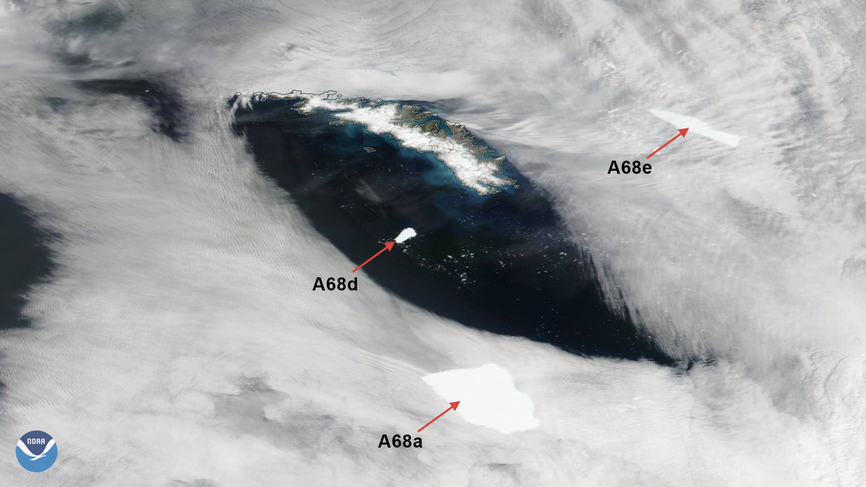 NOAA-20 Views South Georgian Icebergs In Transition