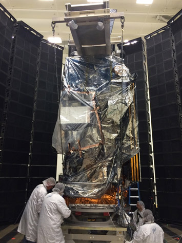 JPSS-1 gets prepped for acoustics testing
