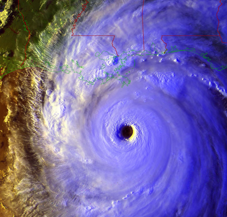 Satellite image showing eye of hurricane
