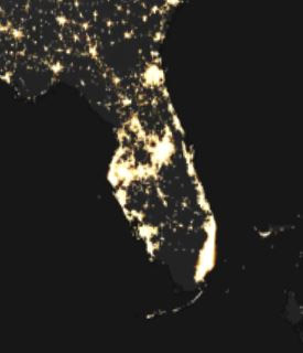 DMSP satellite nighttime lights image of Florida showing illuminated coastline