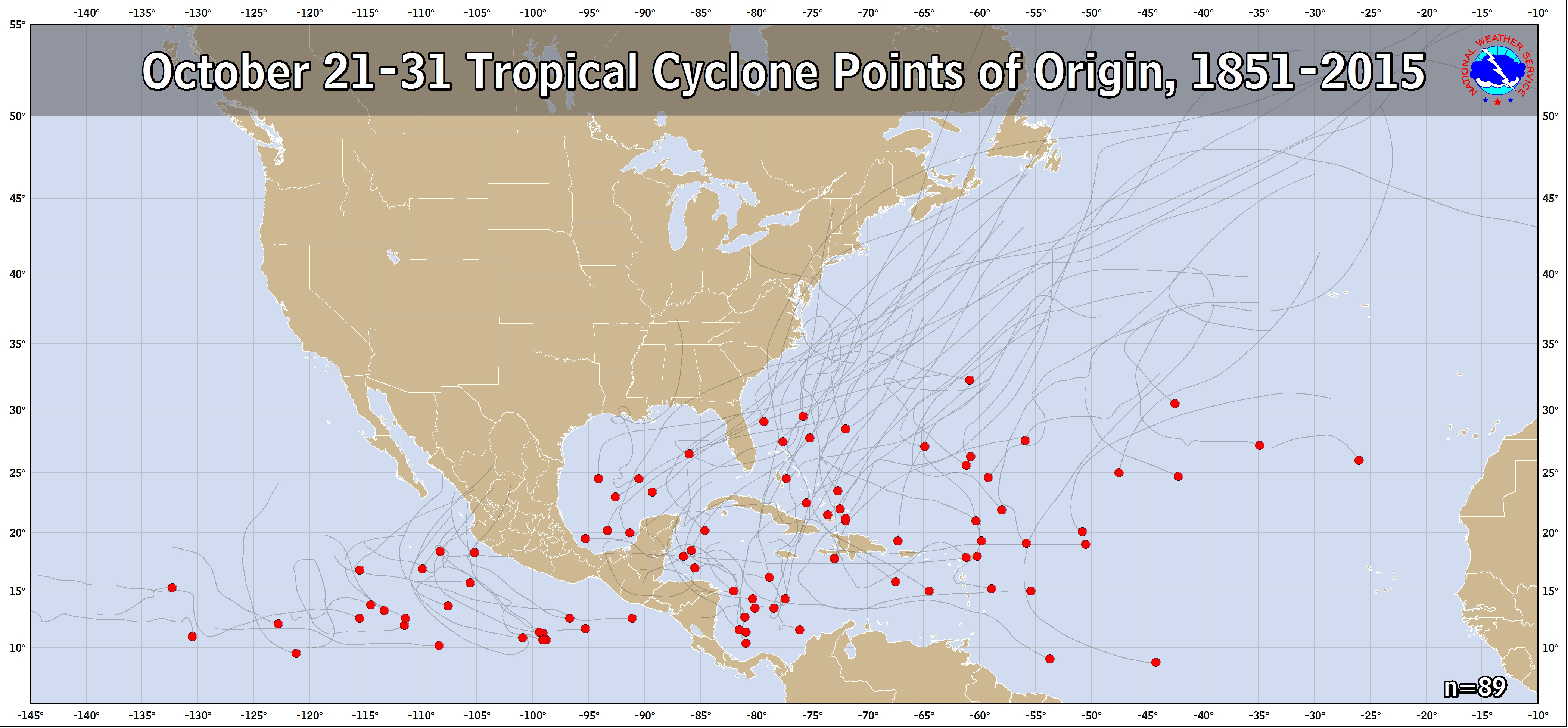 Tropical cyclone points of origin