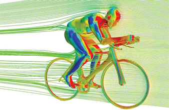Artist conception of wind drag on a bike rider's body