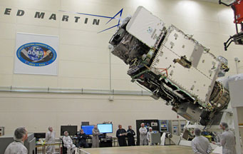 GOES-R satellite being rotated prior to testing