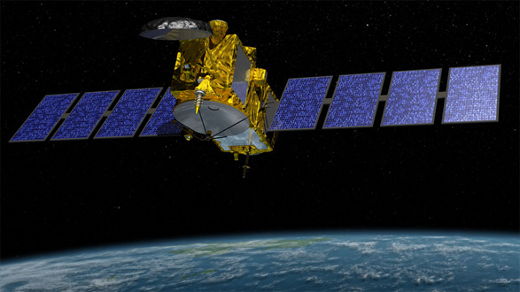 Artist rendition of Jason-3 satellite in space