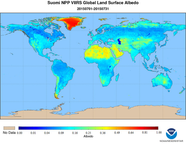 S-NPP data product showing measurements of Earth's albedo