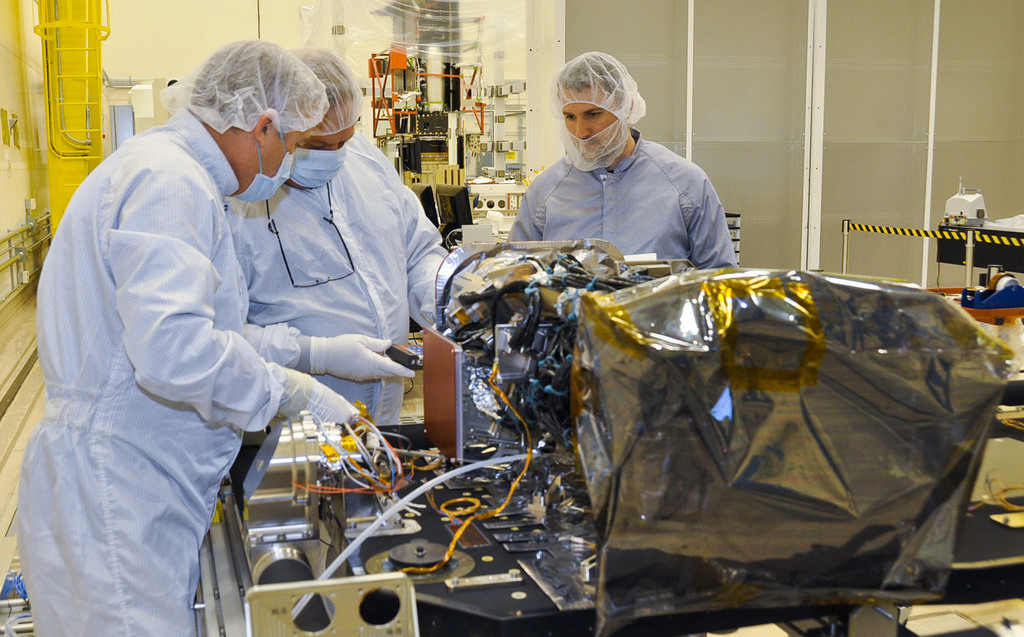 Photo of the EXIS and SUVI instruments are installed onto the sun pointing platform of the GOES-R spacecraft.